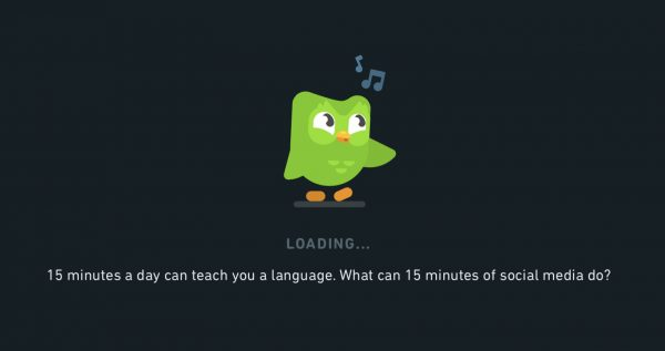 Duolingo screenshot: 15 minutes a day can teach you a language. What can 15 minutes of social media do?